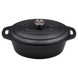 Caçarola De Ferro Fundido Antiaderente Oval - 28 cm - 4 Litros - Stex Infinity Black