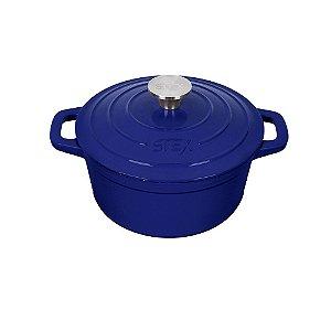 """Caçarola Round de Ferro Fundido Esmaltado - 21 cm - 2,8 Litros - Azul - Stex Classic 2019 """"Grade B"""" - Pequenos Defeitos"""