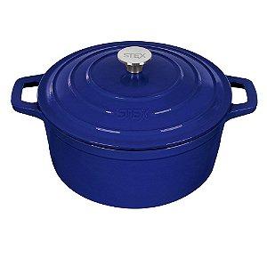 Caçarola Round de Ferro Fundido Esmaltado - 28 cm - 6,5 Litros - Azul - Stex Classic 2019