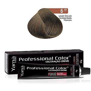 Coloração Yamá Creme Professional Color Nano Infusion 6.17 Louro Escuro Acinzentado Marrom