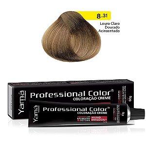 Coloração Yamá Creme Professional Color Nano Infusion 8.31 Louro Claro Dourado Acinzentado