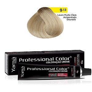 Coloração Yamá Creme Professional Color Nano Infusion 9.13 Louro Muito Claro Acinzentado Dourado