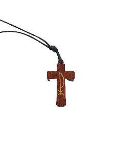 Cordão com Crucifixo Madeira