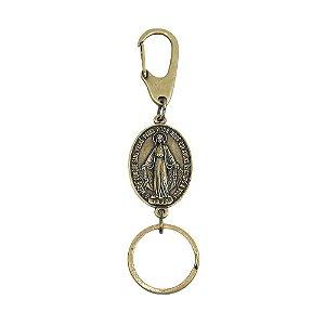 Chaveiro Medalha Milagrosa Mosquetão - Ouro velho