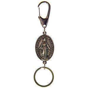 Chaveiro Medalha Milagrosa Mosquetão - Prata Velha