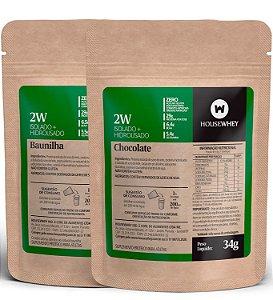 2W -  WHEY ISOLADO E HIDROLISADO - CHOCOLATE E BAUNILHA - caixa mista com 15 sachês de 34g