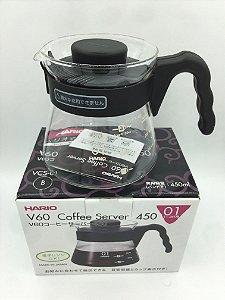 Jarra de vidro para servir Café Hario V60 Preto 450ml
