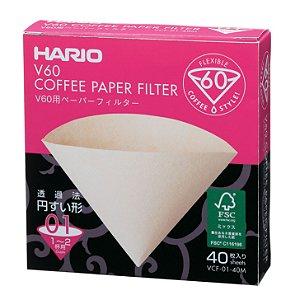 Filtro Natural para Coador Hario V60 Tamanho 01 - 40 unidades
