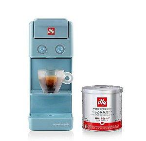 Kit Combo - Máquina Illy Y3.3- Azul - 127v + 04 latas de Cápsulas iperEspresso