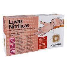 Luva Nitrílica Rosa - Descarpack cx com 100 unidades tamanho P