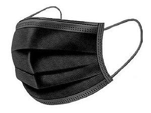 Máscara Cirúrgica Tripla Descartável - Cx com 50 unidades - Preta - MediCompany