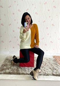 Blusa Trico Bicolor