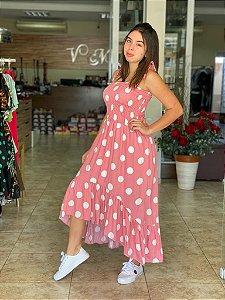 Vestido Alcinha - Fundo Rosa Poa Branco