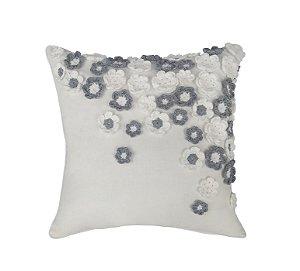 Almofada Natural Linho com Flores de Crochê Cores 50x50