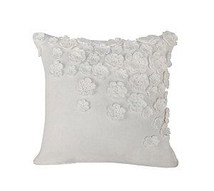 Almofada Natural Linho com Flores de Crochê Branco 50x50