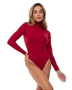 Body Gola Alta Cut Out Vermelho Bardot