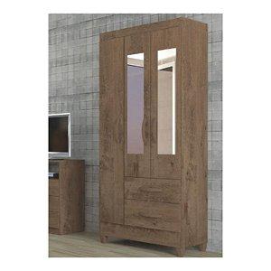 Guarda Roupa 03 Portas Real com Espelho Mocacino/Rústico/Off/White-Atualle