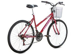Bicicleta Aro 26 Foxer Maori com Cesta Vermelha-Houston