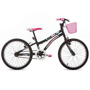 Bicicleta Aro 20 Nina com Cesta Preta/Fosco-Houston