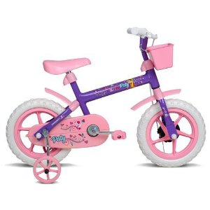 Bicicleta Aro 12 Fem Paty Lilas c/ AC Rosa Verden Bike