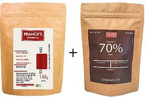 Kit Degustação - Choco 70% Dark + Café Maturado em Barril de Whiskey