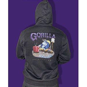 Moletom Gorilla Glue Letras Roxa Hempstee Cinza