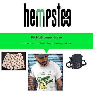 Kit 1 Lemon Haze Branca, 1 Shoulder Bag Rede e 1 Shorts Manga Rosa Elastano