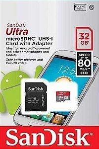 Cartão de Memoria Sandisk 32g micro SD classe 10