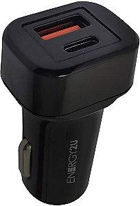 Carregador Veicular E2U UBS / Type-C Preto E2U-CPD01-BR