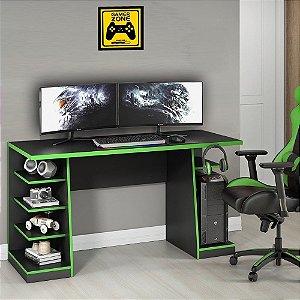 Mesa para Computador / Gamer XP Verde 136x60cm com 6 Prateleiras e Gancho para HeadSet