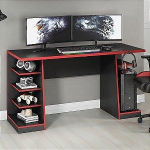 Mesa para Computador / Gamer XP Vermelho 136x60cm com 6 Prateleiras e Gancho para HeadSet