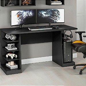 Mesa para Computador / Gamer XP Preta 136x60cm com 6 Prateleiras e Gancho para HeadSet