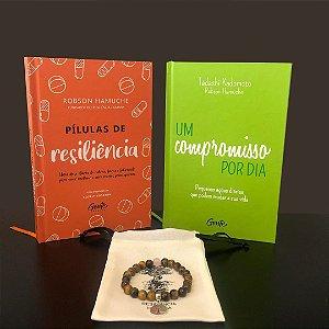 kit Compromisso - 1 Livro - Um Compromisso Por Dia + 1 Livro - Pílulas de Resiliência + 1 Pulseira - Olho de Tigre com Quartzo Rosa e Frete Grátis