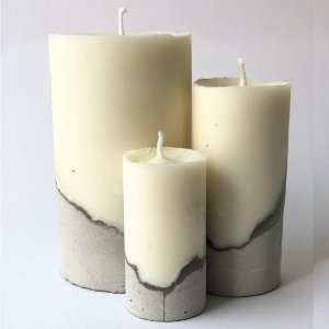 Kit 3 Velas de Soja Base Concreto Cinza Lumini