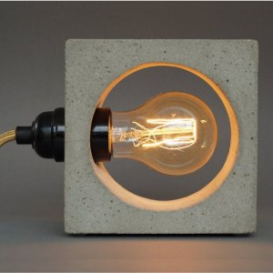 Luminária de Concreto Cinza Vazada + Lâmpada