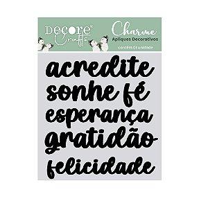 Charme de Apliques Acrílico Preto - Palavras VI