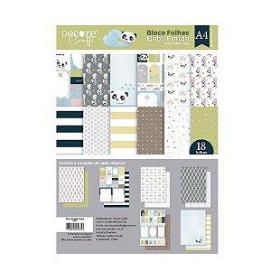PROMO - COLEÇÃO BABY PANDA A4 - 210 X 297MM - 180g - Embalagem com 18 folhas - 3 estampas de cada