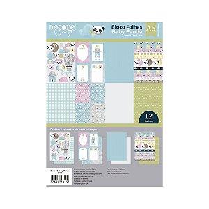 COLEÇÃO BABY PANDA A5 - 210 x 148MM - 180g - Embalagem com 12 folhas - 3 estampas de cada