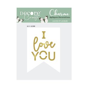 CHARME DE APLIQUE DUPLO - I LOVE YOU - 60 X 82 X 4mm