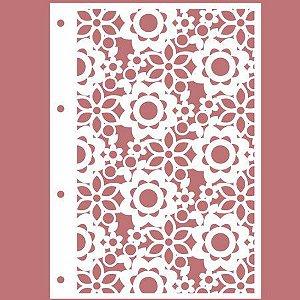 PROMO - Capa Acrílica A4 - Branca Floral II + 4 Argolas Douradas + Contracapa Holler - 210 x 297 mm