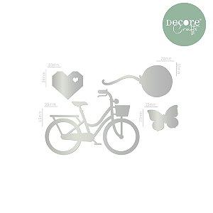Aplique em Acrílico Espelhado Prata Bike 2mm