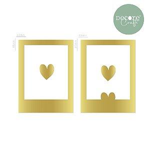 Aplique em Acrílico Espelhado Dourado Polaroid - 2mm