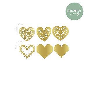 Aplique em Acrílico Espelhado Dourado Corações - 2mm