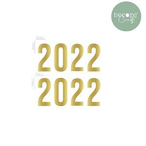 APLIQUE EM ACRÍLICO ESPELHADO DOURADO 2022 - 2MM