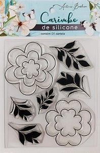 CARIMBO DE SILICONE MOLDES E FOLHAS: 90 x 110MM - BLACK FRIDAY