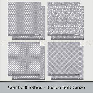 Combo Coleção Básica Soft - 8 Folhas - Cinza