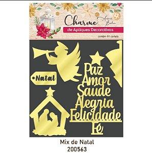Charme de Apliques Decorativos - Mix de Natal - Acrílico Dourado
