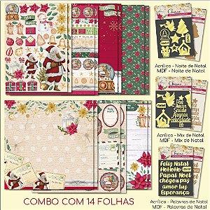 COMBO VI - Meu Natal Colorido (14 FOLHAS) + 3 Apliques Mdf + 3 Acrílicos Espelhados Dourados