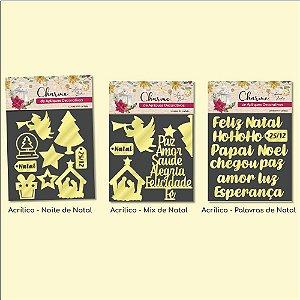 Combo - Charme de Apliques Decorativos Natalinos - 3 Acrílicos