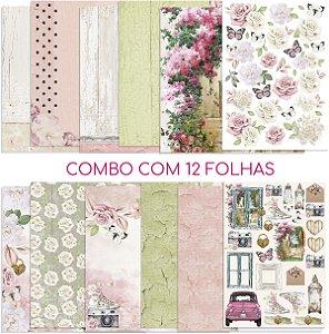 Combo com 12 folhas da coleção Encanto de Flores